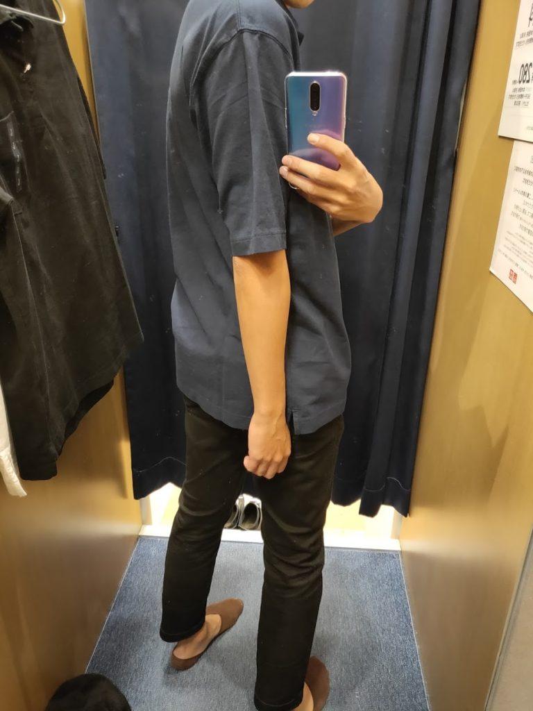 オーバーサイズジャージーポロシャツのブルーL後