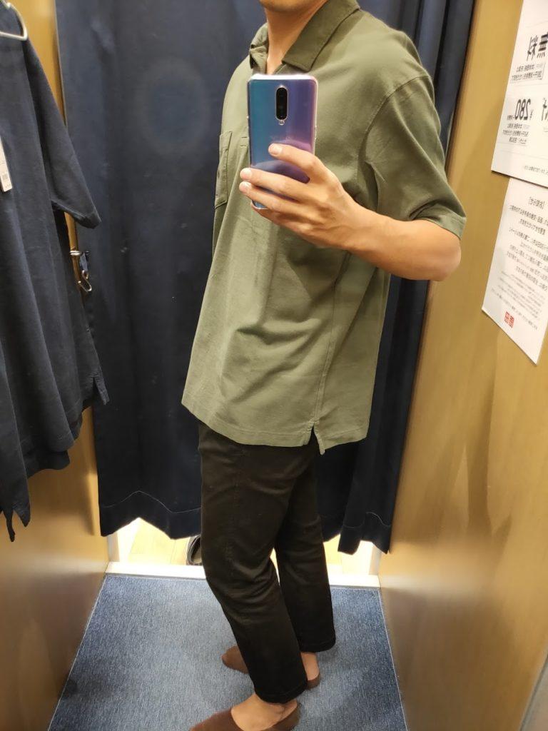 オーバーサイズジャージーポロシャツのオリーブL横