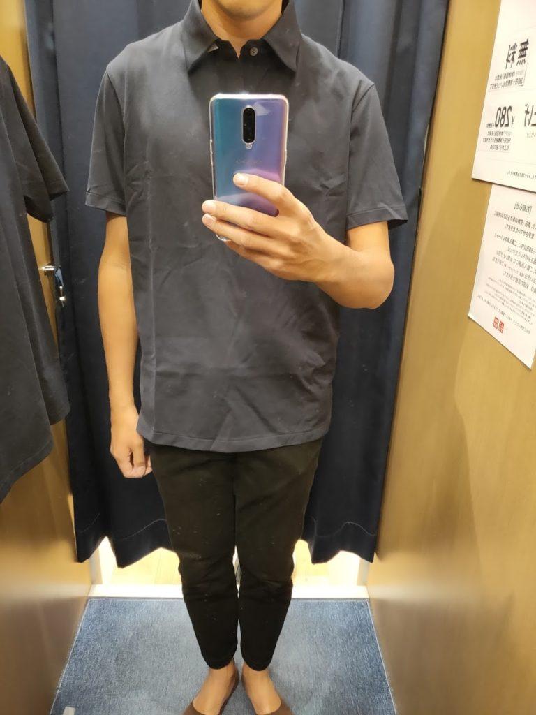 エアリズムジャージーポロシャツのネイビーL前