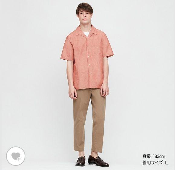 リネンコットンオープンカラーシャツHPモデル