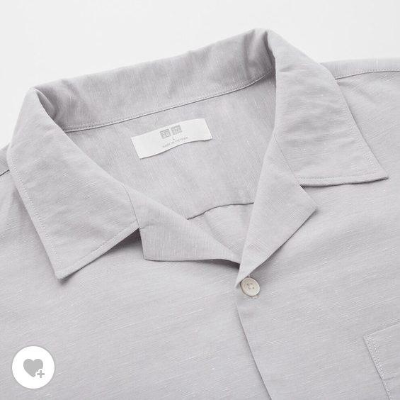 リネンコットンオープンカラーシャツ素材1