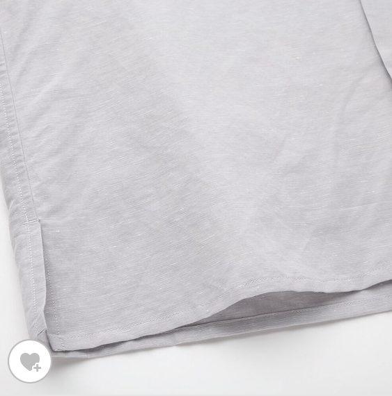 リネンコットンオープンカラーシャツ素材2