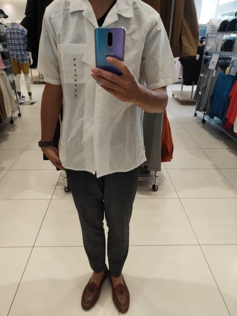 リネンコットンオープンカラーシャツ白M前