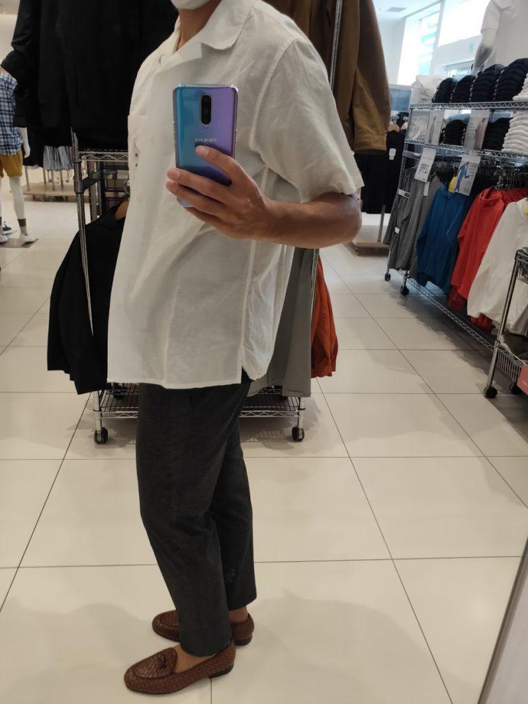 リネンコットンオープンカラーシャツ白M横