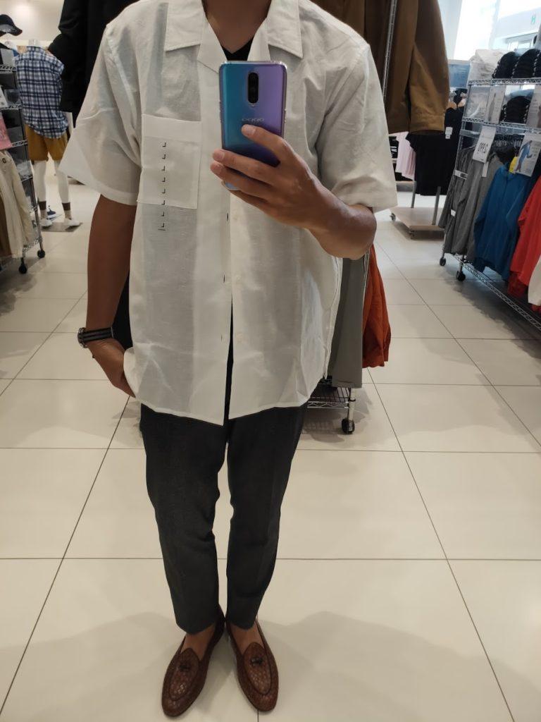リネンコットンオープンカラーシャツ白L前