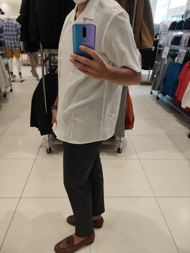 リネンコットンオープンカラーシャツ白L横