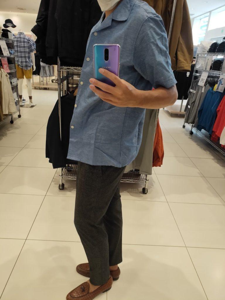 リネンコットンオープンカラーシャツ66ブルーM横