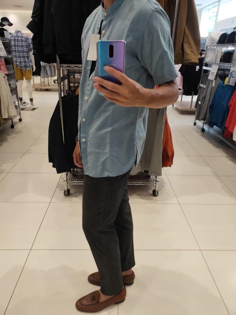 リネンコットンスタンドカラーシャツブルー横