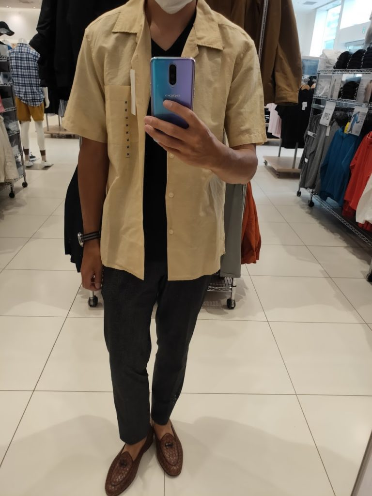 リネンコットンオープンカラーシャツ黄色M前