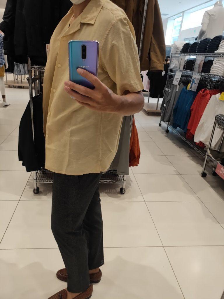 リネンコットンオープンカラーシャツ黄色M横