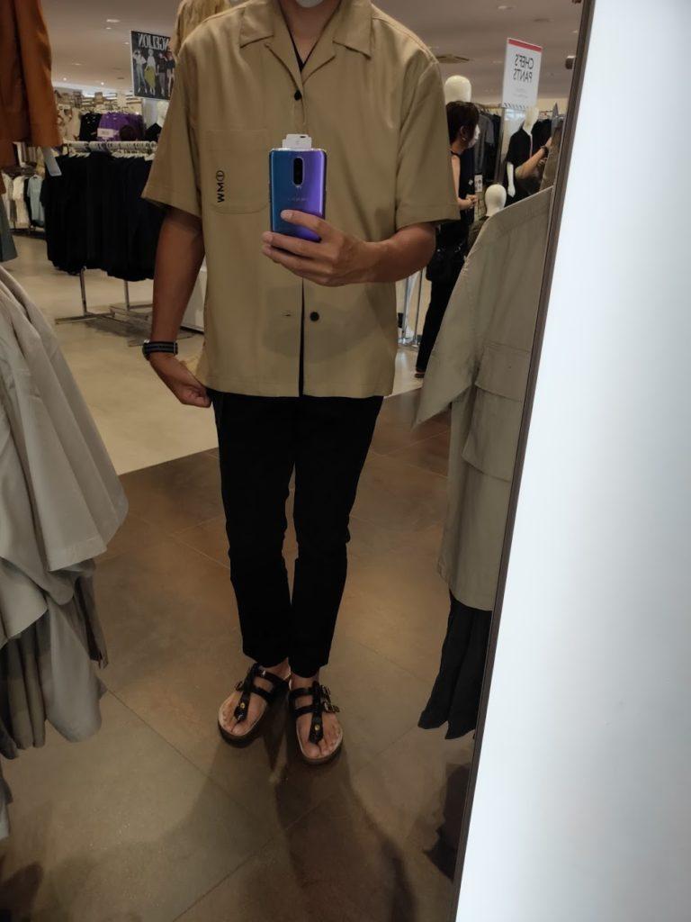 GUSOPHのオープンカラーシャツ(五分袖)のカーキS前