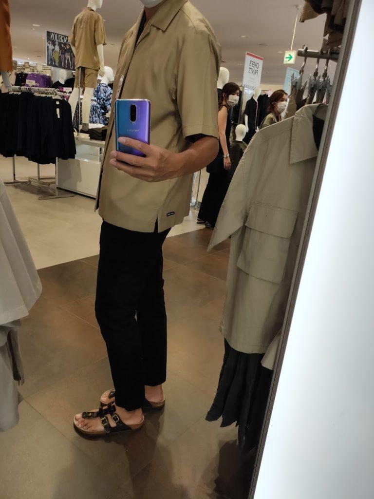 GUSOPHのオープンカラーシャツ(五分袖)のカーキS横