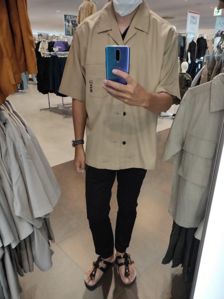 GUSOPHのオープンカラーシャツ(五分袖)のカーキL前