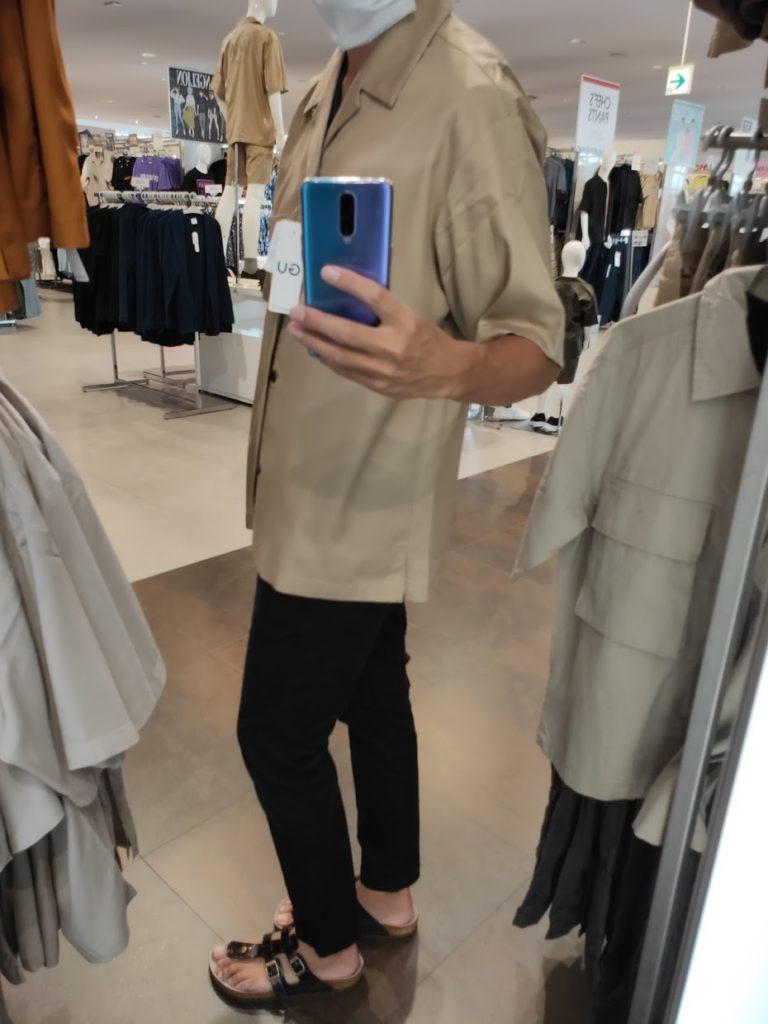 GUSOPHのオープンカラーシャツ(五分袖)のカーキL横