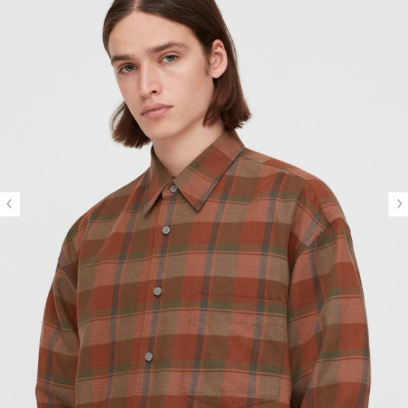 2020秋冬ライトフランネルワイドフィットチェックシャツ②のモデル1