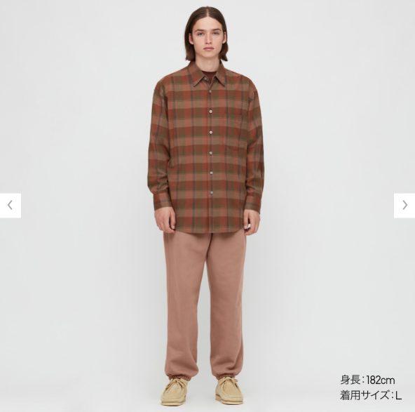 2020秋冬ライトフランネルワイドフィットチェックシャツ②のモデル2