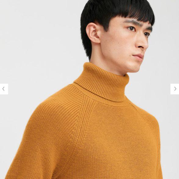 2020秋冬リブタートルネックセーターのモデル1