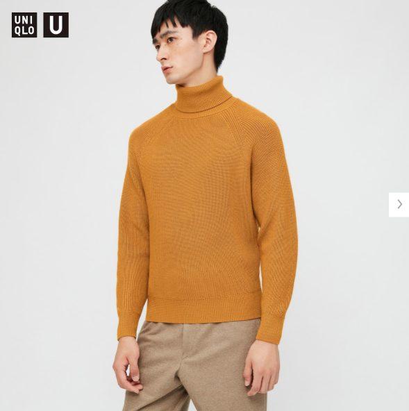 2020秋冬リブタートルネックセーターのモデル2