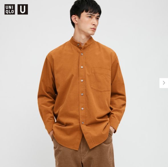 ユニクロUコーデュロイワイドフィットスタンドカラーシャツモデル