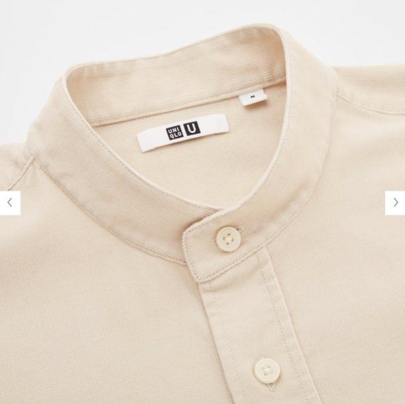 ユニクロUコーデュロイワイドフィットスタンドカラーシャツ素材1