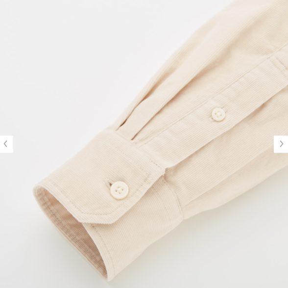 ユニクロUコーデュロイワイドフィットスタンドカラーシャツ素材2