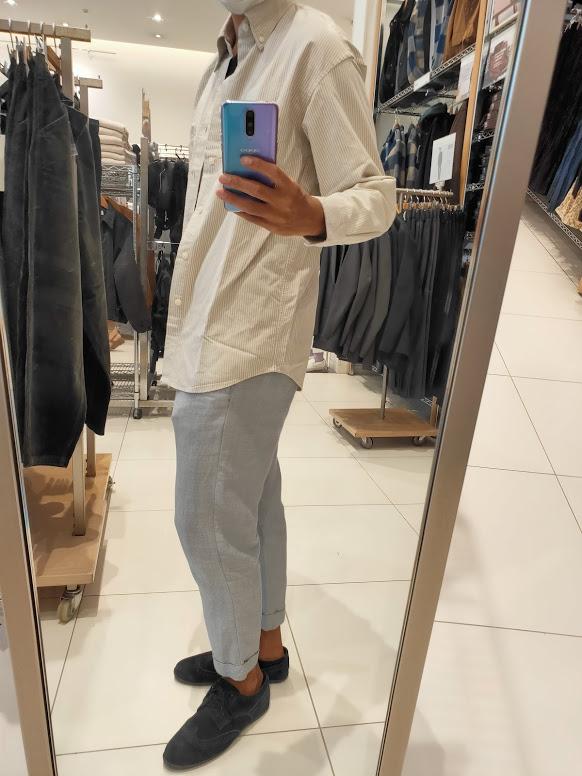 2020秋冬オックスフォードワイドフィットストライプシャツのオフホワイトS横