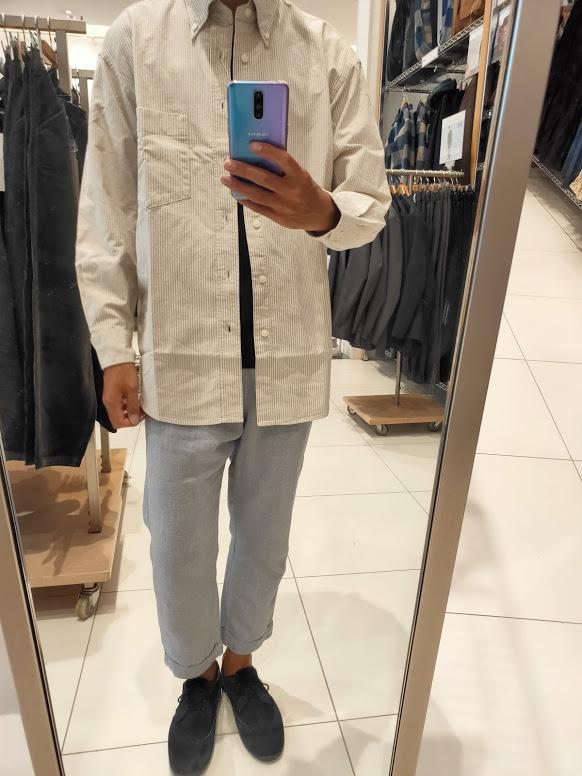 2020秋冬オックスフォードワイドフィットストライプシャツのオフホワイトM前