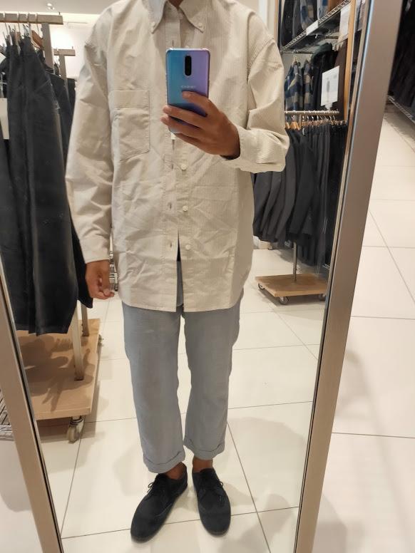2020秋冬オックスフォードワイドフィットストライプシャツのオフホワイトL前