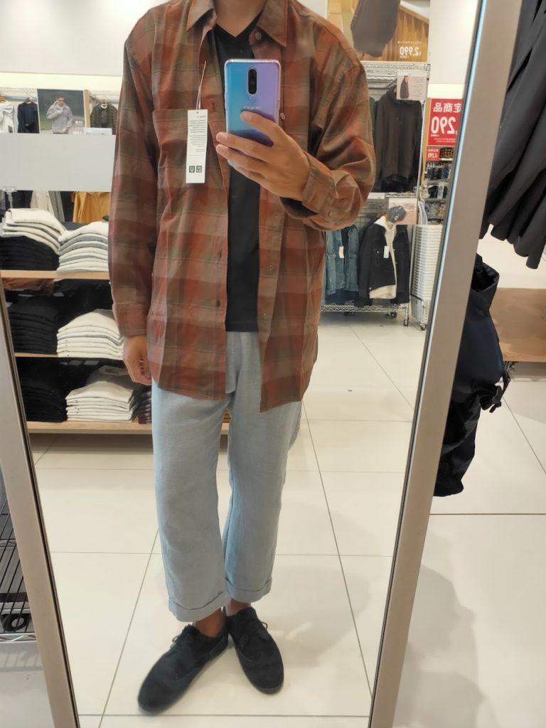 2020秋冬ライトフランネルワイドフィットチェックシャツ②ダークオレンジのM前