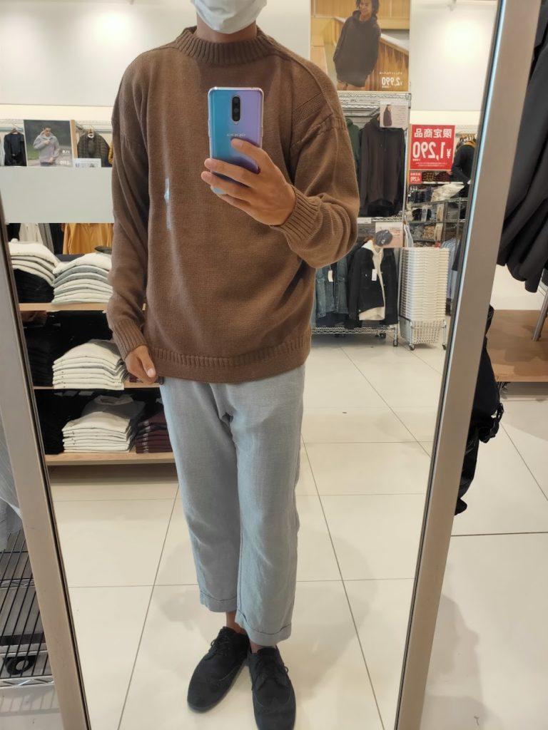 2020秋冬ミドルゲージモックネックセーターのダークブラウンXL前