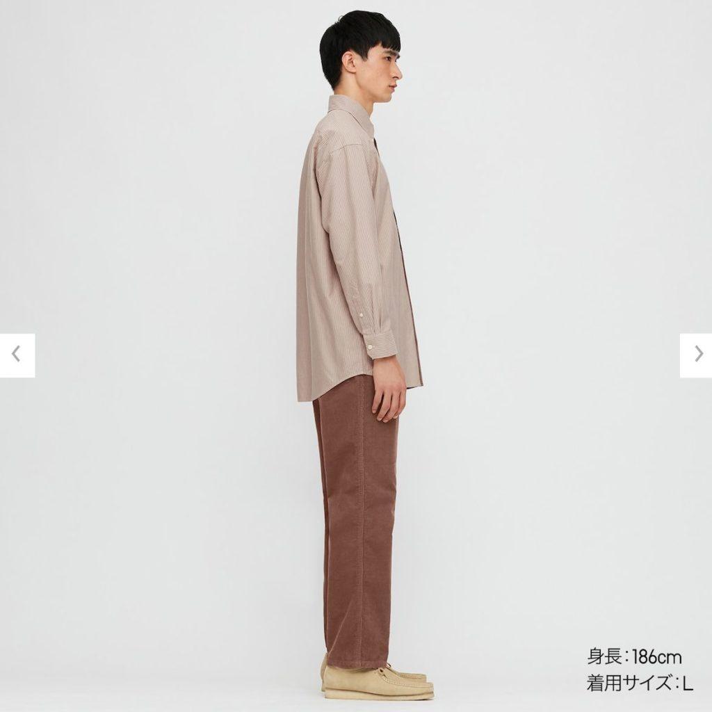 2020秋冬オックスフォードワイドフィットストライプシャツのモデル2