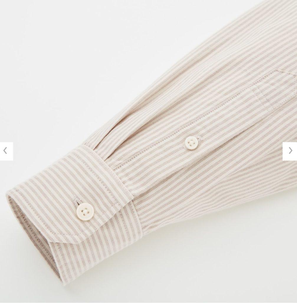 2020秋冬オックスフォードワイドフィットストライプシャツの素材2