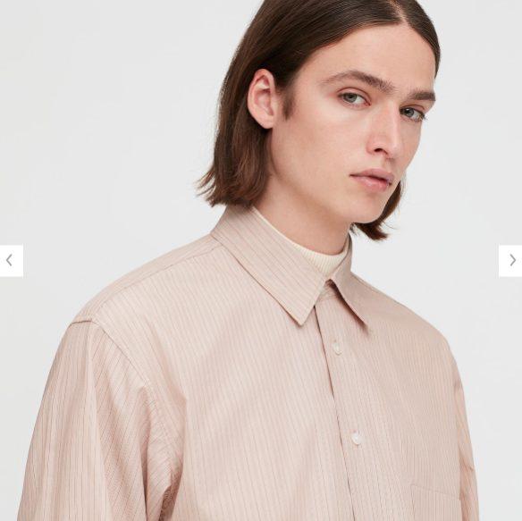 2020秋冬ブロードストライプシャツのモデル1