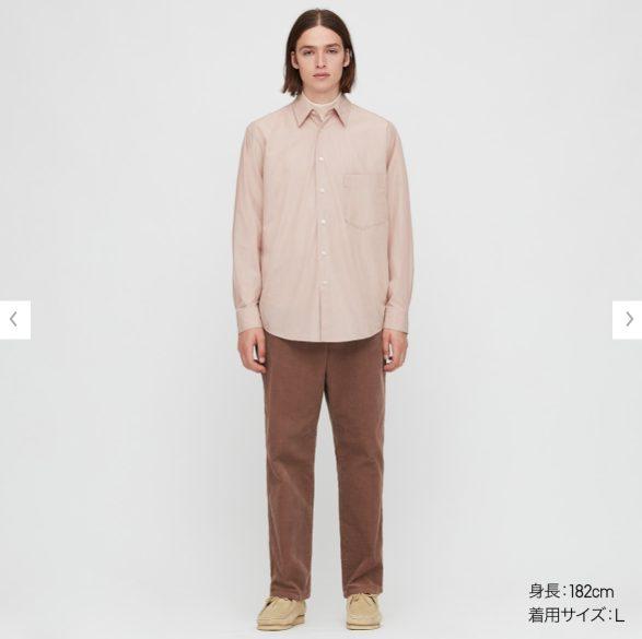 2020秋冬ブロードストライプシャツのモデル2