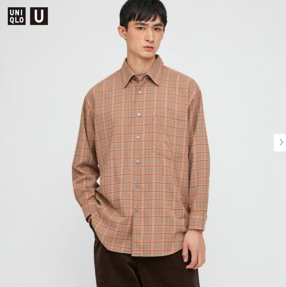 2020秋冬ライトフランネルワイドフィットチェックシャツ①のモデル1