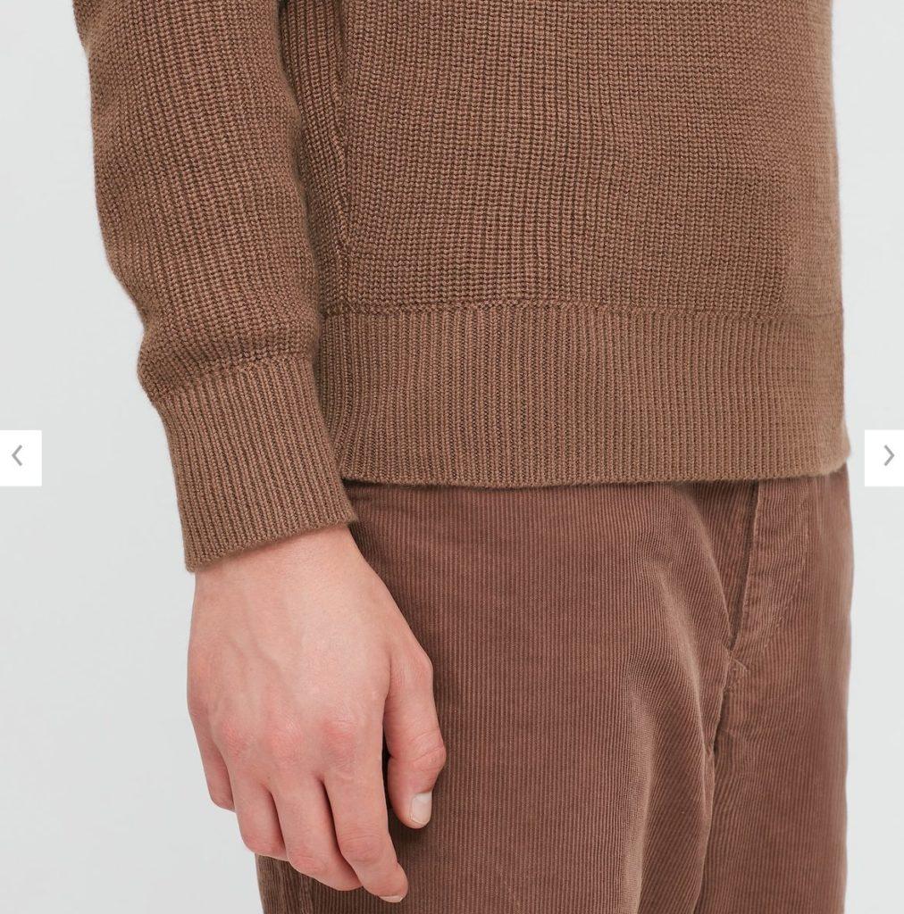 2020秋冬リブクルーネックセーターの素材2