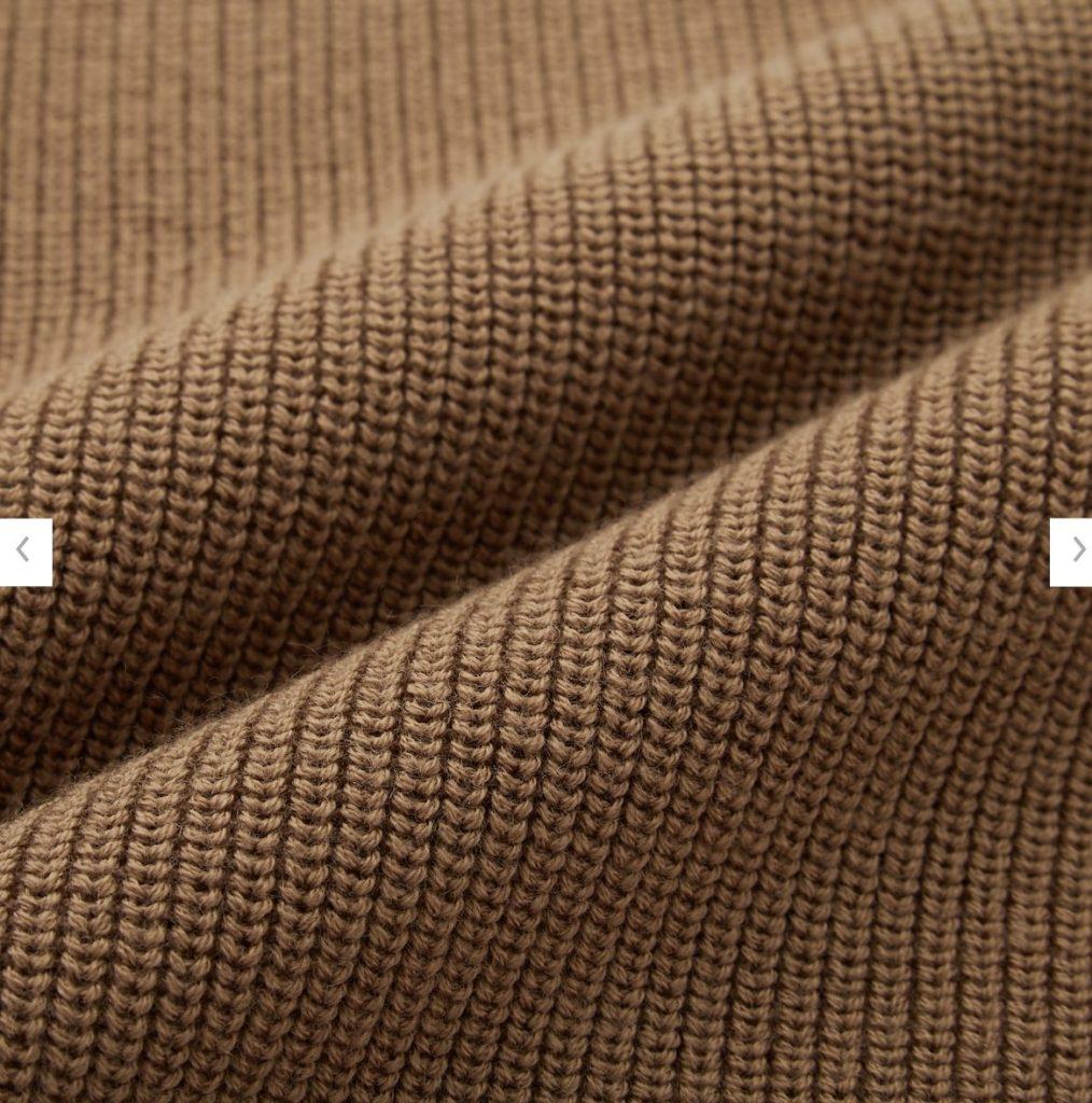 2020秋冬リブクルーネックセーターの素材1