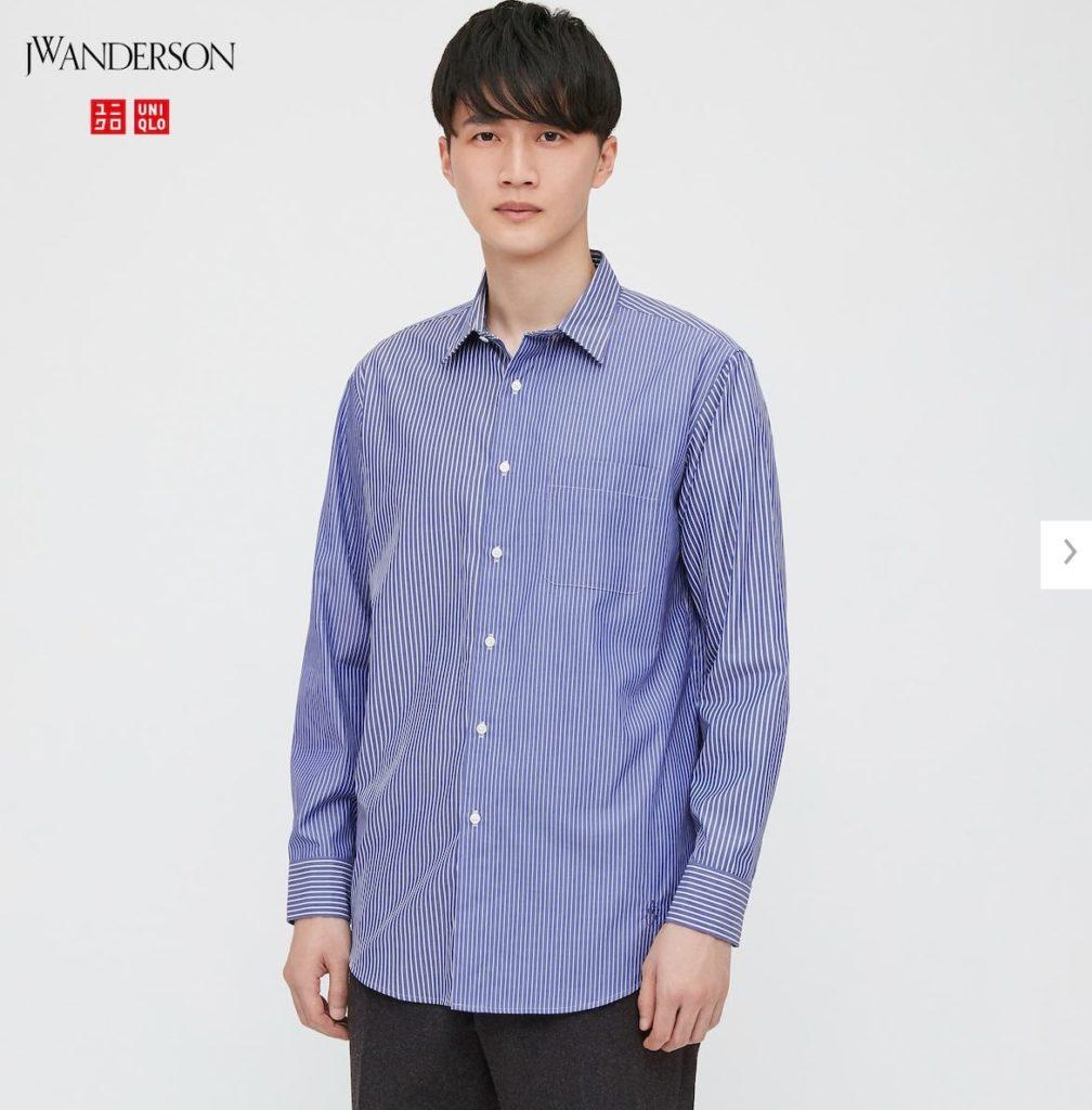 2020JWアンダーソンファインクロスストライプシャツのモデル1