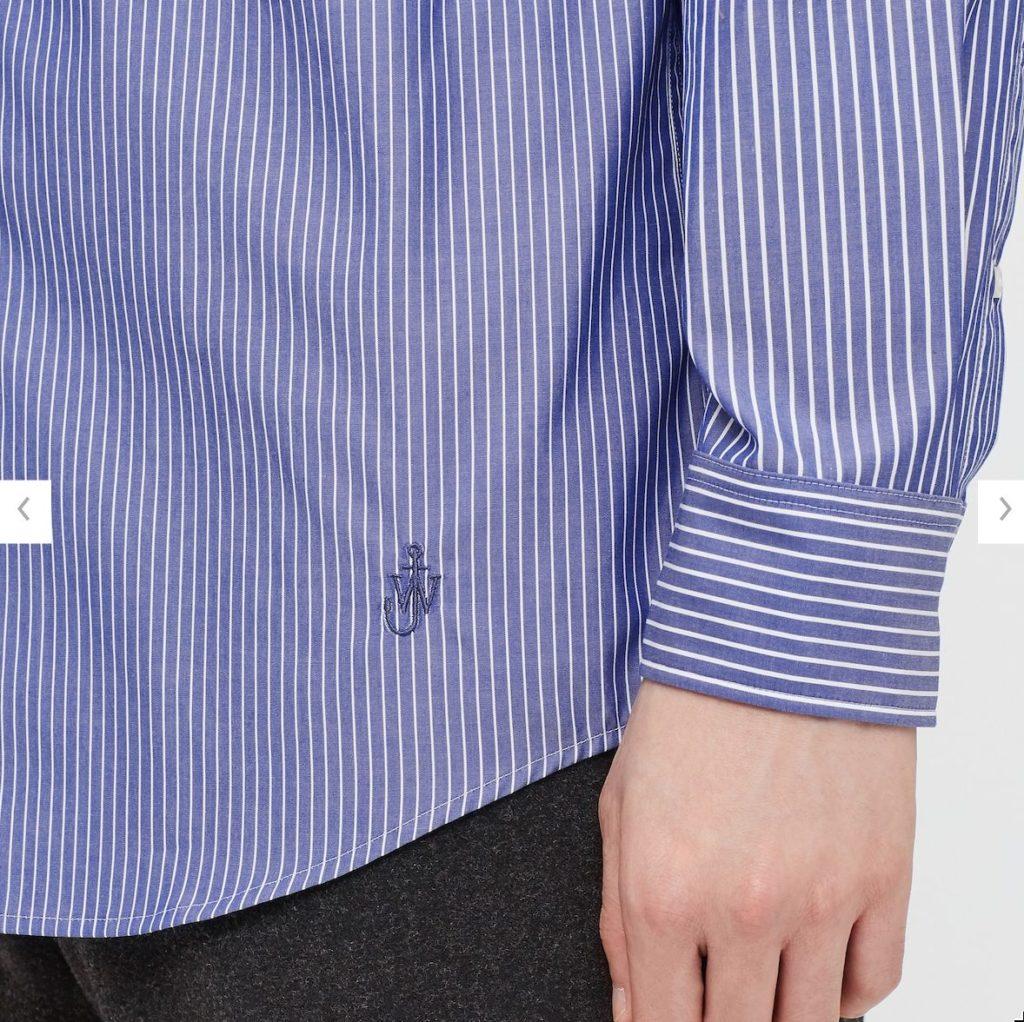 2020JWアンダーソンファインクロスストライプシャツの素材2