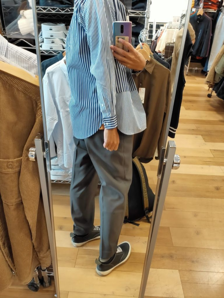 +Jスーピマコットン オーバーサイズシャツの66ブルーS後ろ