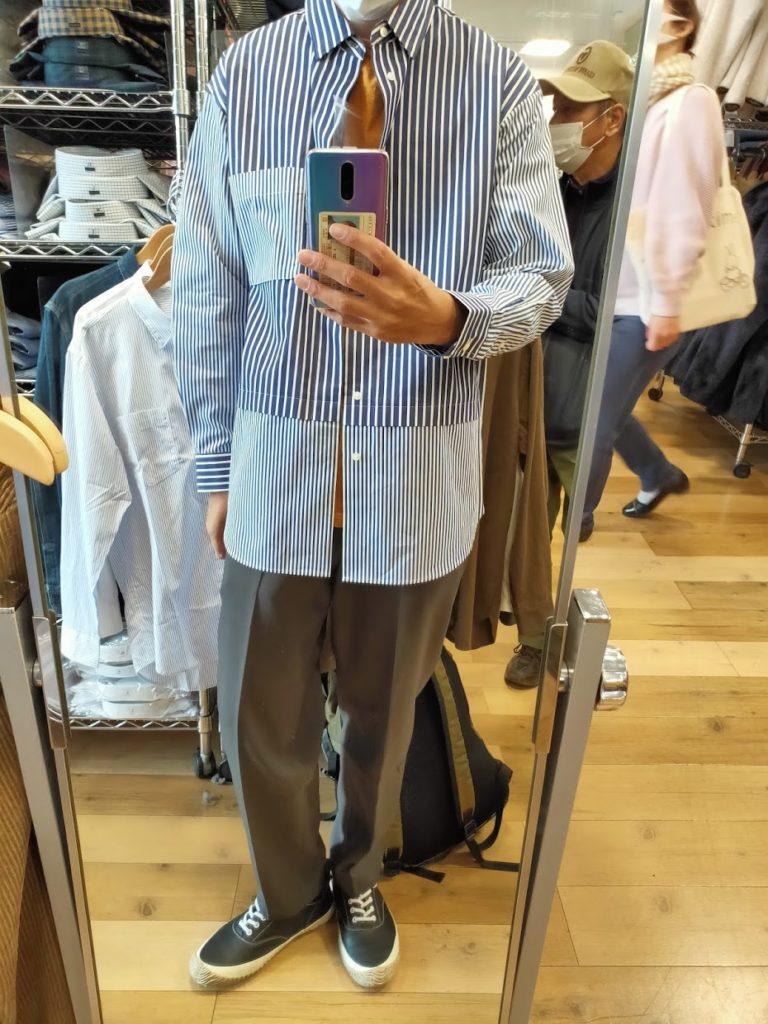 +Jスーピマコットン オーバーサイズシャツの66ブルーM前