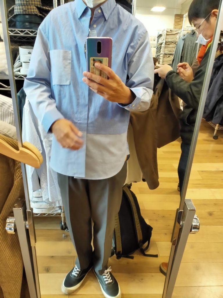 +Jスーピマコットン オーバーサイズシャツの62ブルーM前