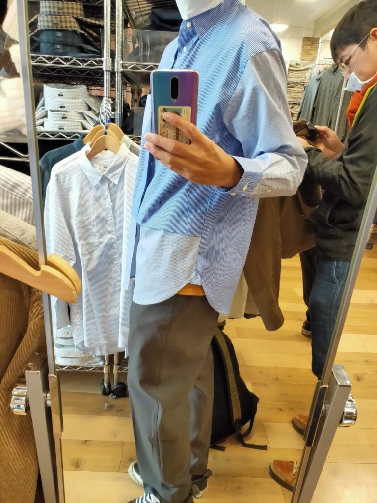 +Jスーピマコットン オーバーサイズシャツの62ブルーM横
