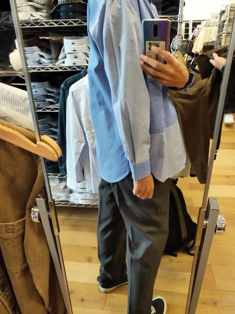 +Jスーピマコットン オーバーサイズシャツの62ブルーM後ろ