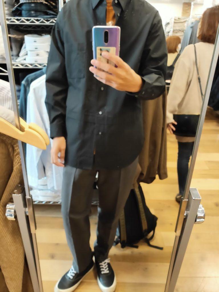 +Jスーピマコットン オーバーサイズシャツノーマルの黒サイズM前
