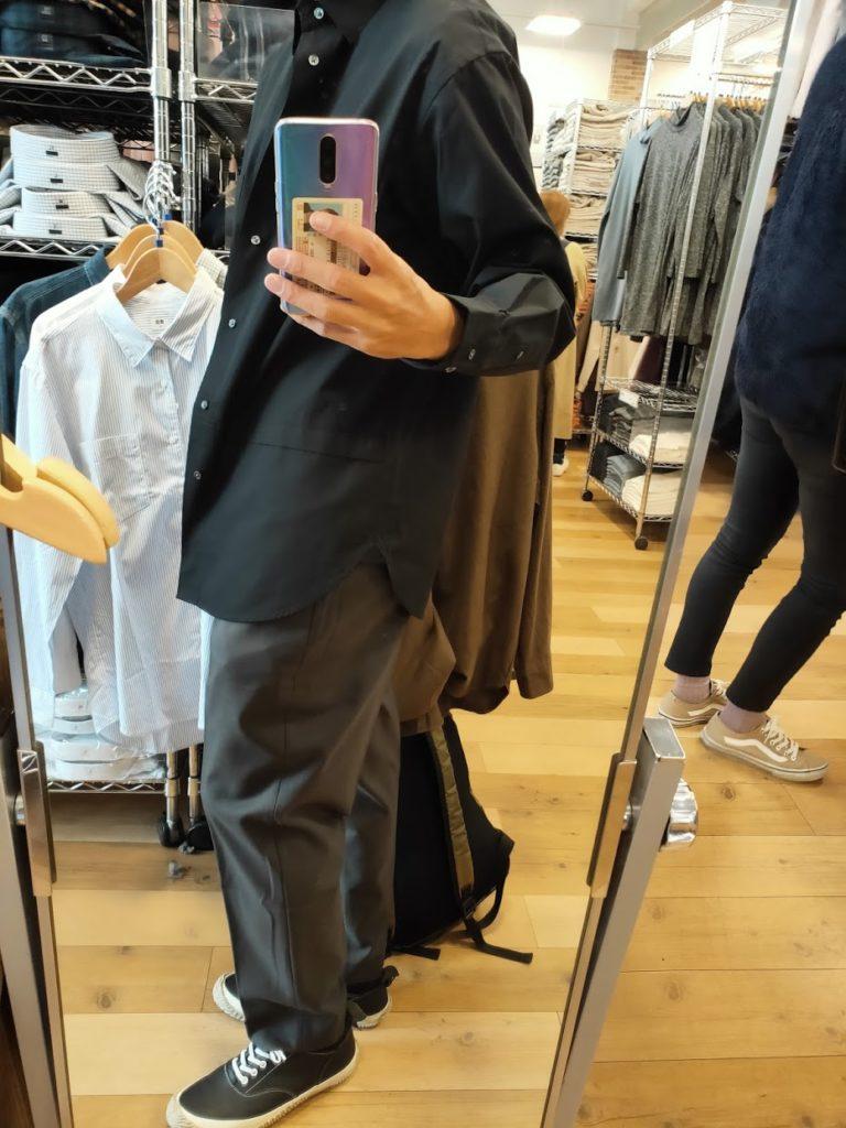 +Jスーピマコットン オーバーサイズシャツノーマルの黒サイズM横
