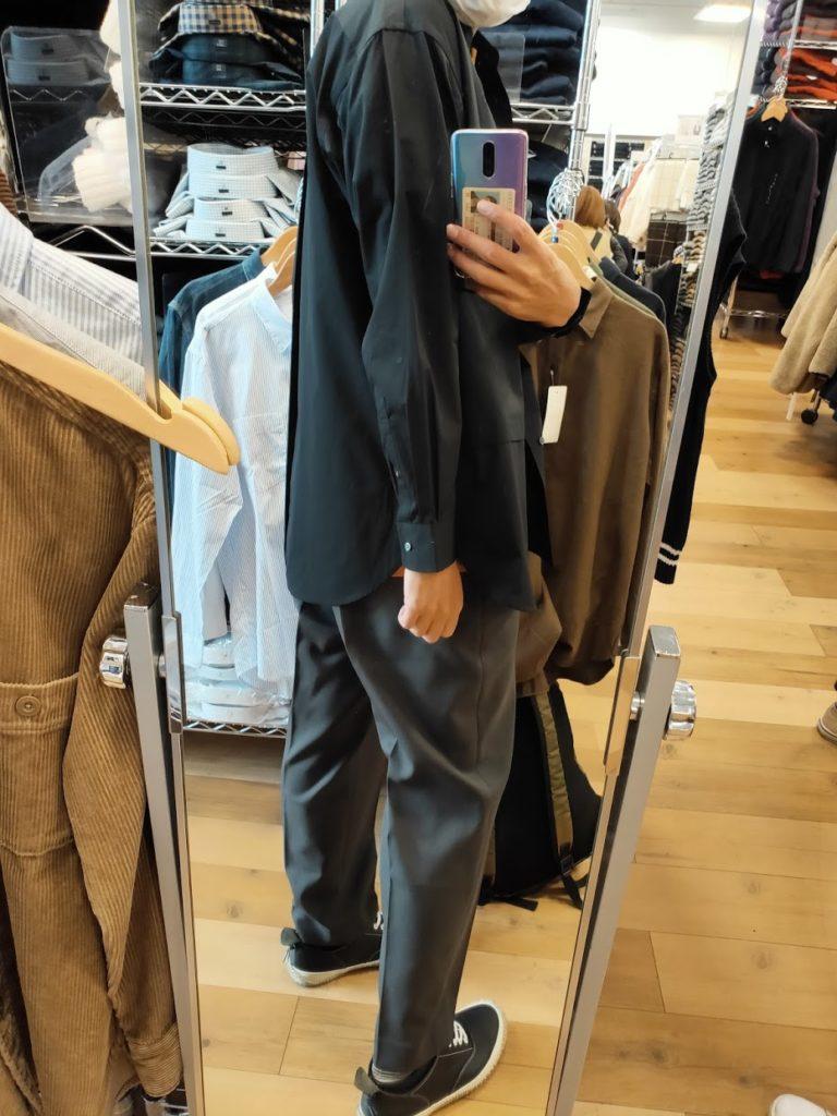 +Jスーピマコットン オーバーサイズシャツノーマルの黒サイズM後ろ