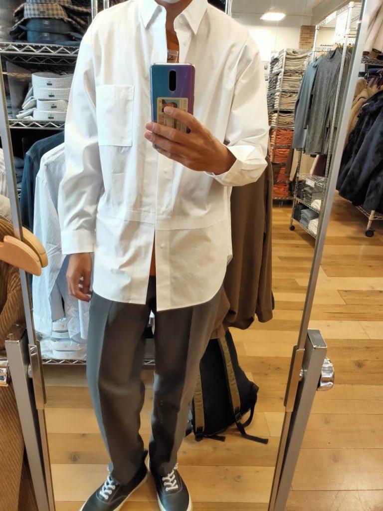 +Jスーピマコットン オーバーサイズシャツノーマルの白サイズM前