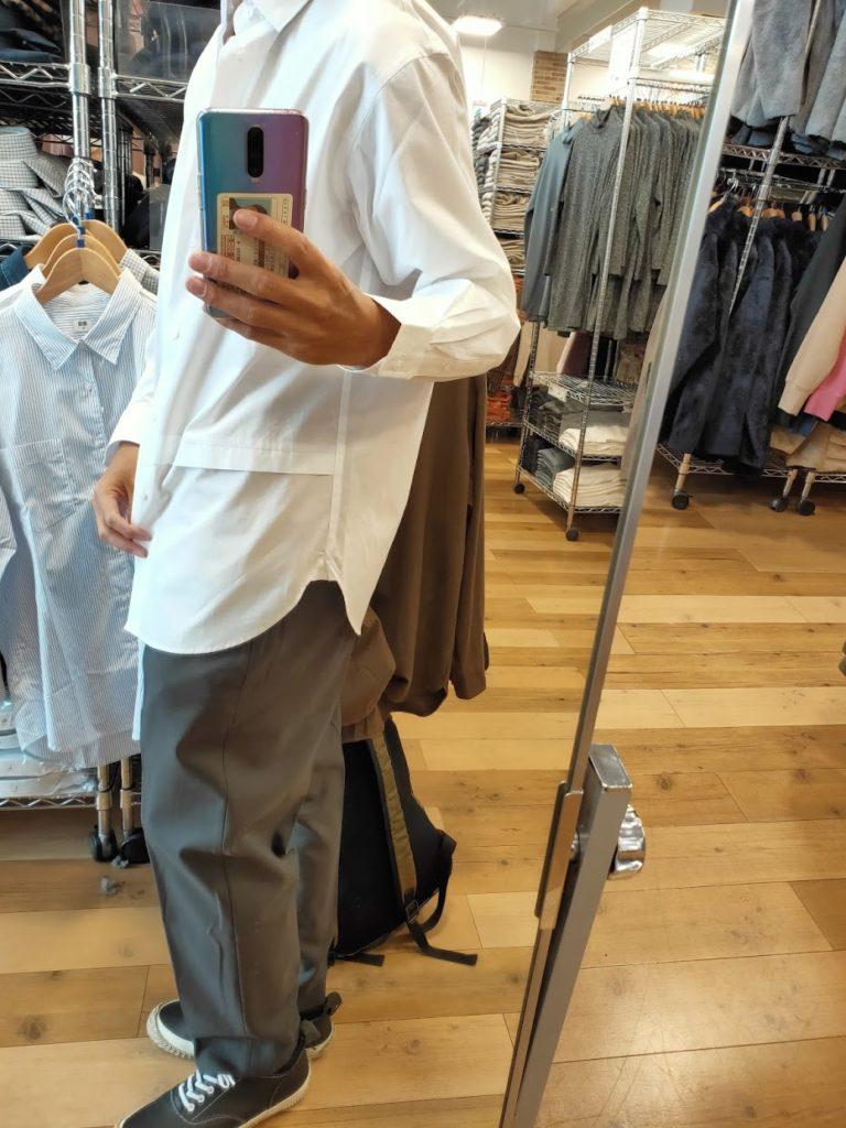 +Jスーピマコットン オーバーサイズシャツノーマルの白サイズM横