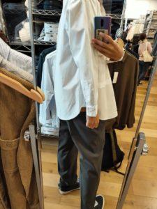 +Jスーピマコットン オーバーサイズシャツノーマルの白サイズM後ろ
